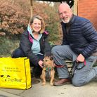 Cadbury with his new owners Amanda and Stephen Willmott at Dogs Trust Ilfracombe on adoption day.