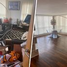 Before and after shot of living room when using a decluttering service