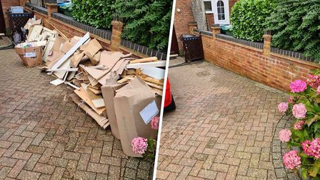 Clear driveway before and after using a rubbish clearance company