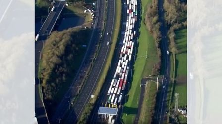 Picture of lorry queue down the M20 for mile upon mile at the entrance of the Eurotunnel in Folkestone