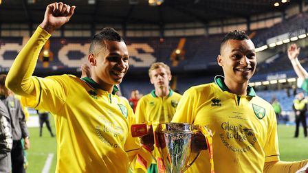 Josh, left and Jacob Murphy celebrate Norwich City's FA Youth Cup triumph at Stamford Bridge in 2013