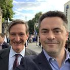 Richard Scott (R) poses for a picture with one of his political idols, former MP Dominic Grieve (L).
