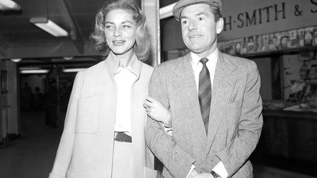 Kenneth More pictured in1959 with Lauren Bacall, his co-star in North West Frontier.Picture: PA