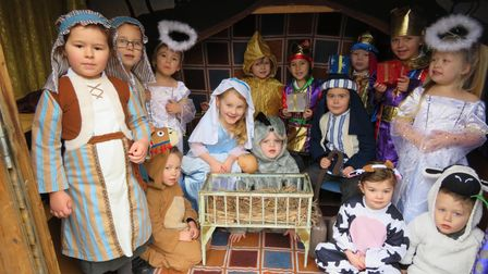 Children dressed in costumes for their nativity play