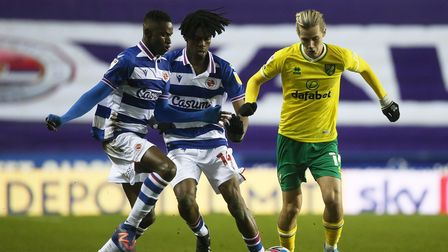 Alfa Semedo of Reading, Ovie Ejaria of Reading and Todd Cantwell of Norwich in action during the Sky