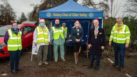 Ottery Rotary Club members and Ottery mayor