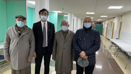 Central Mosque of Brent trusteesZaffar Iqbal, Dr Raja Amjid Riaz and Nazir Dar with Cllr Ahmad Shehzad (right) at the new...