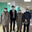 Central Mosque of Brent trusteesZaffar Iqbal, Dr Raja Amjid Riaz and Nazir Dar with Cllr Ahmad Shehzad (right) at the new testing centre.