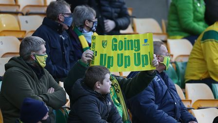 Fans Norwich City Carrow Road celebrate 2-0 Championship win over Cardiff City