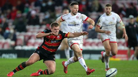 Harpenden's Jack Singleton playing rugby for Gloucester against Ulster