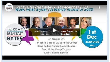 A screen grab of the Torbay Business Forum's virtual Breakfast Bytes show