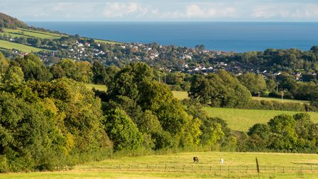 Rolling countryside with Sidmouth and the sea in the distance