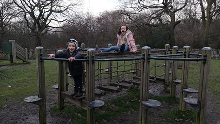 Olivia at her favourite playground with her three-year-old brother, Elliott