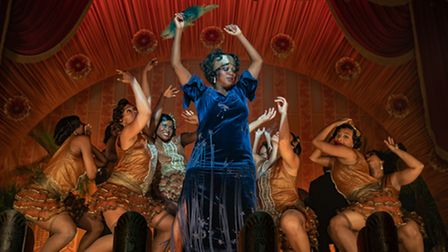 Viola Davis as Ma Rainey surrounded by dancers