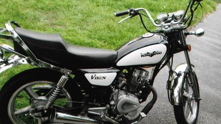 The black and white Lexmoto motorcycle that was stolen in Lowestoft.