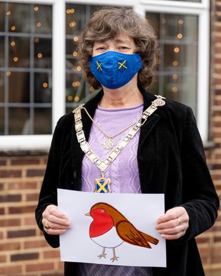 The mayor wears a blue mask bearing the arms of St Albans and holds a drawing of a robin