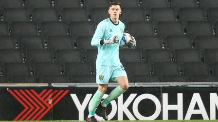 Jon McCracken of Norwich City in action during the Papa Johns Trophy match at Stadium MK, Milton Key