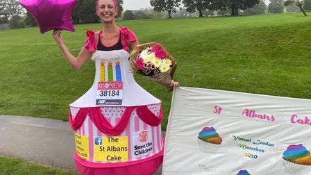 """Anna Bassil, 41, rose to the challenge of running 26.2 miles, claiming it was """"a piece of cake!"""""""