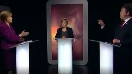 Nicola Sturgeon and Alistair Carmichael during a debate on Scottish independence