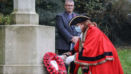 Mayor Heather Asker places a wreath at the cemetery on Remembrance Sunday. Picture: CELIA BARTLETT P