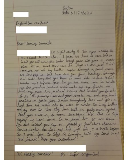 An eight-year-old's letter to Camden Council asking to stay in the borough