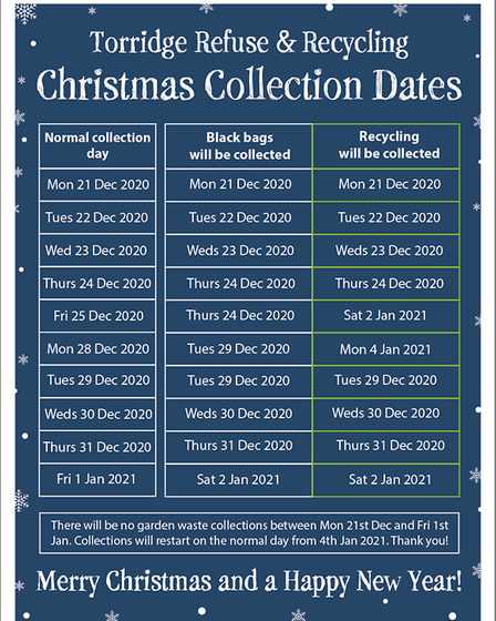 TDC Christmas waste schedule 2020