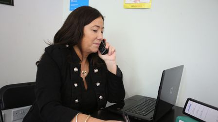 Havering Women's Aid have set up a mens domestic abuse helpline. Vicki Nicholoson in their office in