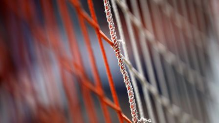 Close-up of orange and white football net at Luton Town FC