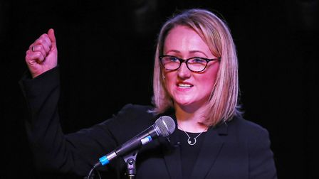 Labour leadership candidate Rebecca Long-Bailey speaks to supporters at a campaign event in Hackney.
