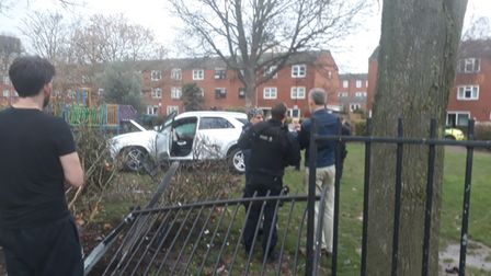 The car smashed through the railings at Butterfield Greenin Stoke Newington
