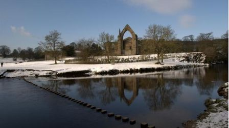 Winter's day at Bolton Abbey and Wharfe River