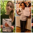 Evie Evans, Rosa Meehan and Emilios Tsirpis with winning Christmas card designs