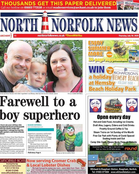 The North Norfolk News front page of July 30 had a tribute to little Benny Pitcher.