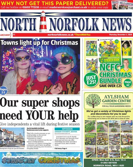 Our 'shop local' campaign was in the spotlight on the North Norfolk News' December 3 front page.
