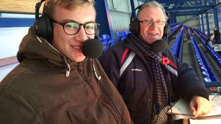 Terry Betts with grandson Sam Betts-Davies, when he joined him to commentate on Ipswich Town for Hospital Radio Ipswich