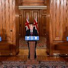 Chief scientific adviser Sir Patrick Vallance and Chief Medical Officer Professor Chris Whitty withPM Boris Johnson as he...