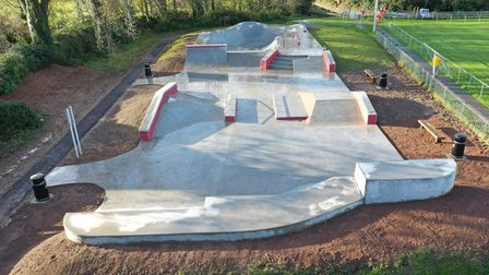 An aerial view of the new Sidmouth skate park