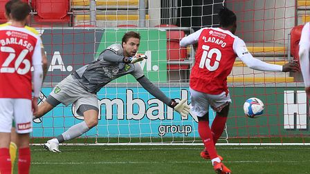 Tim Krul denies Freddie Ladapo from the penalty spot in the first half of Norwich City's Championshi