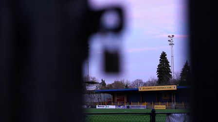 A general view of Clarence Park, home of St Albans City Football Club. Picture: ZAC GOODWIN/PA