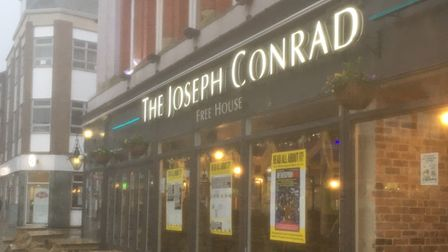 Posters have been displayed in the windows of the Joseph Conrad pub in Lowestoft.