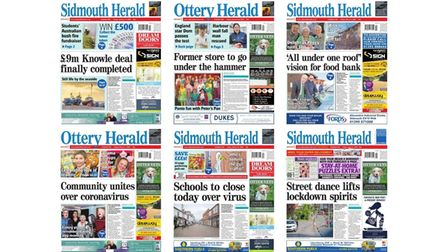 Front pages of the Sidmouth and Ottery Herald