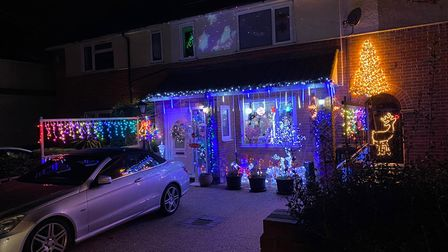 A house with Christmas lights in Ipswich