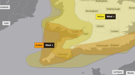 An amber weather warning has been issued for the South West on Boxing Day night