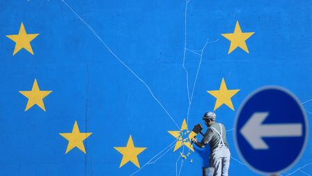 A Brexit-inspired mural by artist Banksy in Dover, Kent