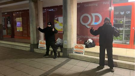 Simon 'Spike' Crowson (right) and a friend Terry Wood in Wisbech throughout Christmas night and into Boxing Day morning...