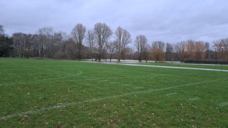 UEA's playing fields flooded following heavy rain, with parts of the route affected by water from the nearby river...