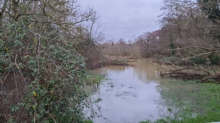 A field in Gurney Lane, Norwich, saturated with water following heavy rain and flooding.