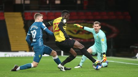 Ismaila Sarr of Watford scores his sides 1st goal during the Sky Bet Championship match at Vicarage