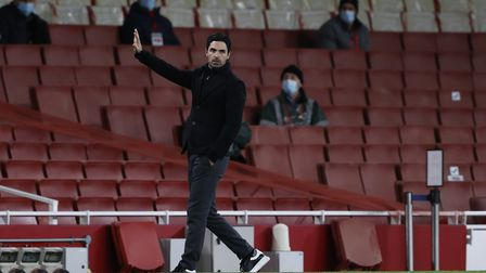 Arsenal manager Mikel Arteta on the touchline during the Premier League match at the Emirates Stadiu