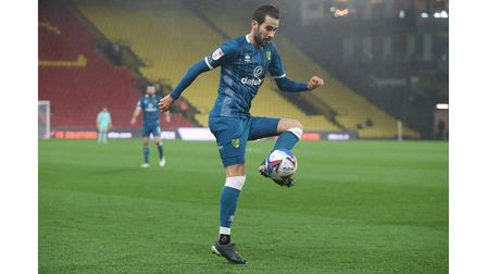 Mario Vrancic of Norwich in action during the Sky Bet Championship match at Vicarage Road, WatfordP